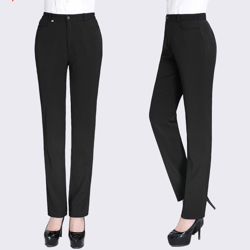 New Ladies Black Waiters Work Wear Uniforms Female Best Chef Pants Hotel Restaurant Kitchen Trousers Wholesale Free Shipping