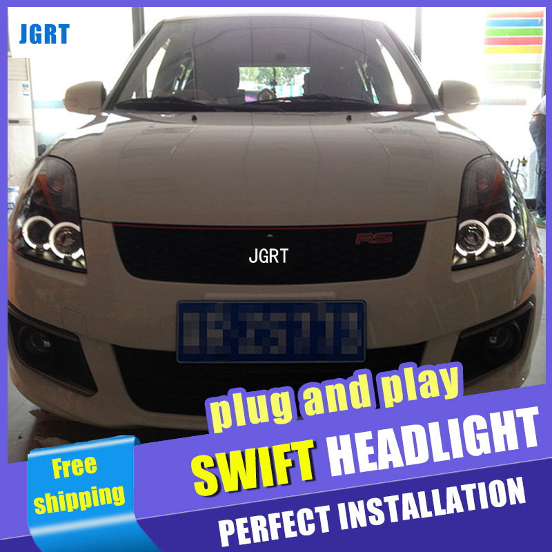 Car Styling  Headlights 2005-2011  for Swift DoubleU Angel Eye LED DRL Lens Double Beam H7 HID Xenon bi xenon lens