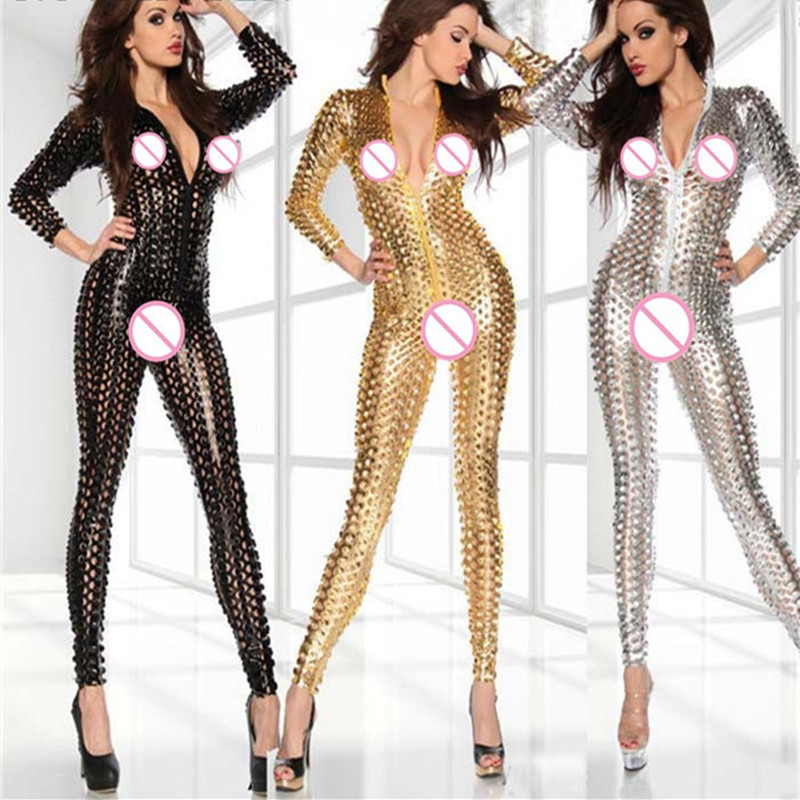 <font><b>Sexy</b></font> Lady Faux Leather latex catsuit Catwomen fetish <font><b>body</b></font> lingerie hot erotic wear Wetlook PU Leotard Bodysuit Bar Clubwear <font><b>XXXL</b></font> image