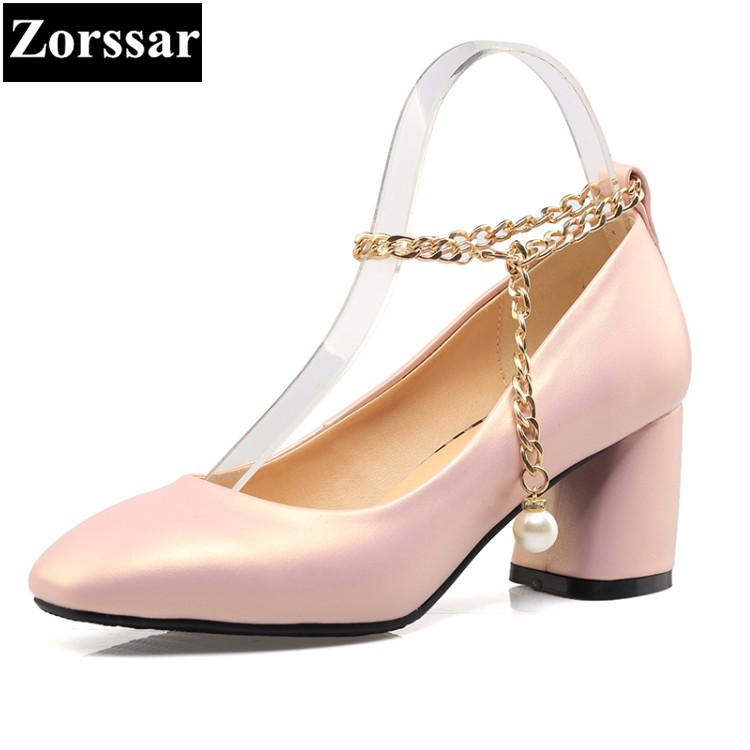 {Zorssar}  Women Pumps Round Toe Solid Thick Square high Heels Buckle Lolita Shoes Ankle Strap Party Platform Shoes Big Size xexy small square toe medium heels natural leather women shoe spring autumn buckle strap dance party sweet platform women pumps