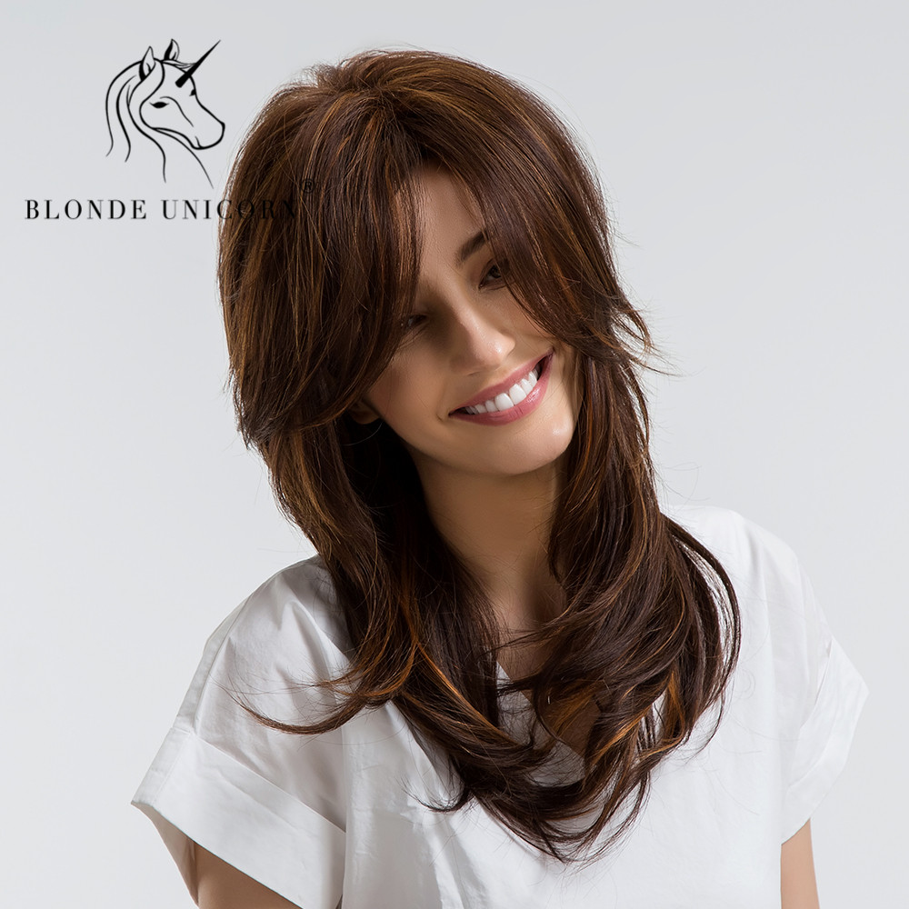 BLONDE UNICORN 20 Inch Long Wavy Hair Wig with Bangs Light Brown Highlights 30 Human Hair
