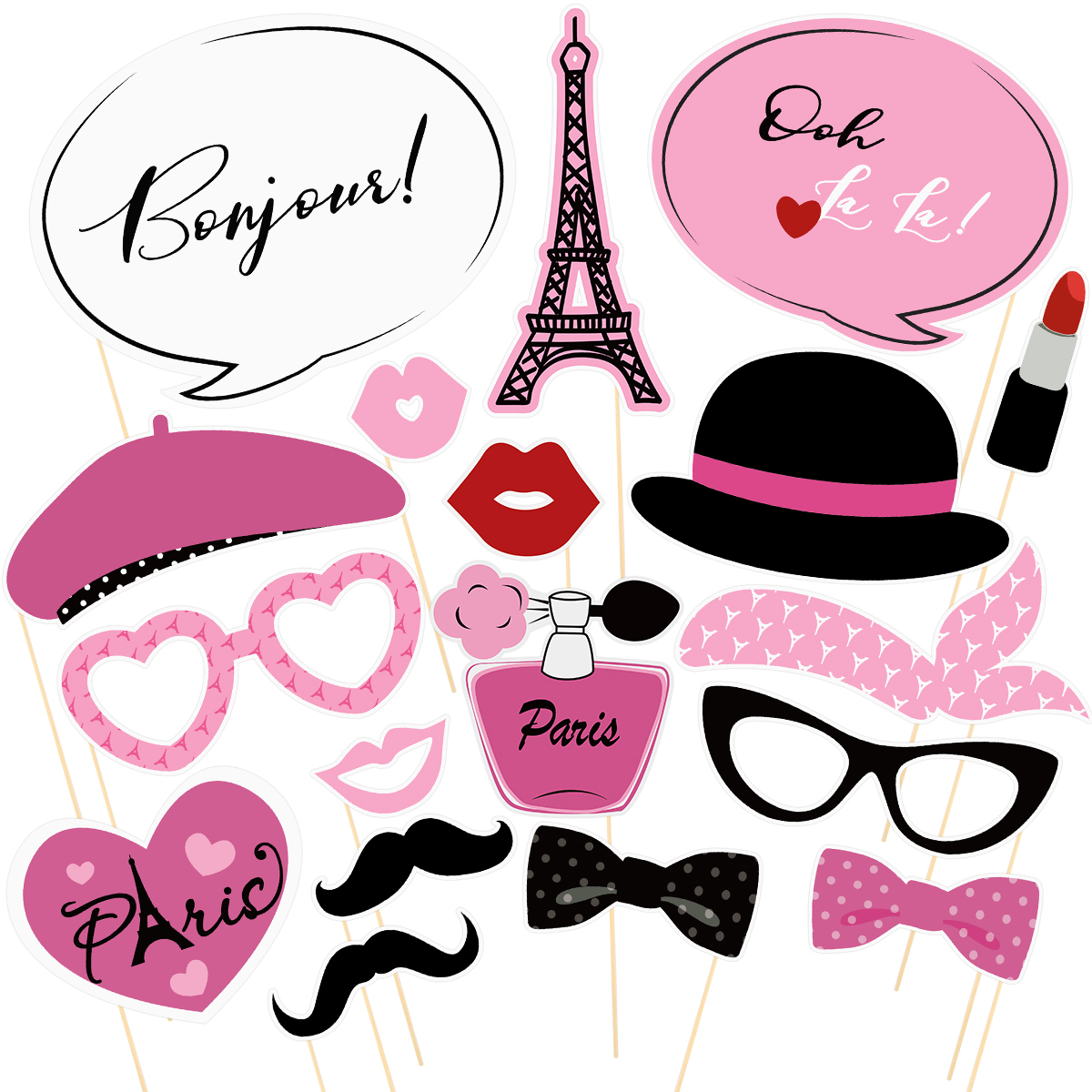 Amosfun 18PCS Paris Party Photo Props Pink Creative Cute Party Supplies Costume Props Photo Props For Festival Holiday Party