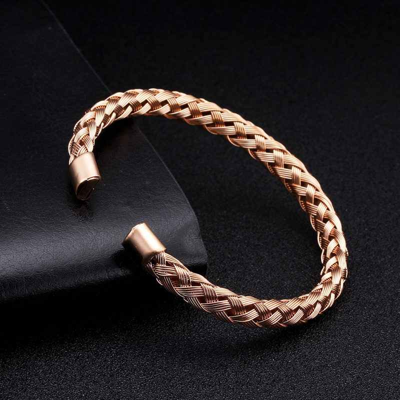 Luxury Braided Charm Open Cuff Men Women Bracelets Trendy Unique Soft Stainless Steel Diy Sporty Charm Bangles Pulsera