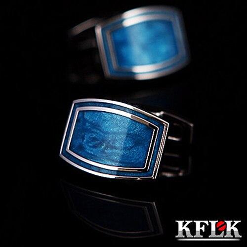 masculino marca botões de punho azul esmalte
