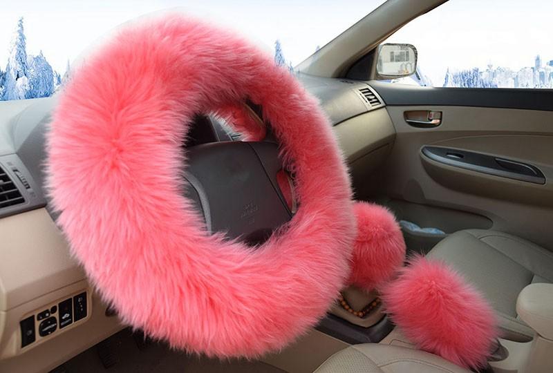 Winter Warm Wool Handbrake Cover Gear Shift Cover Steering Wheel Cover 38cm diameter 1 Set 3 Pcs 6