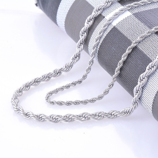 2mm and 4mm Stainless Steel Rope Chain Necklace Statement Swag 316L Stainless St