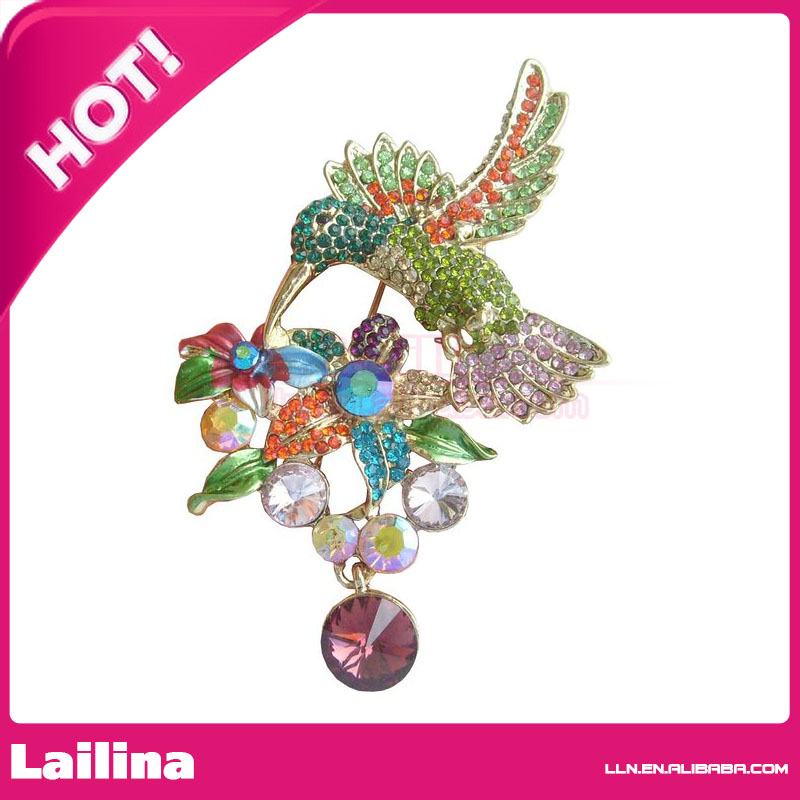 Nice Fashion100pcs/lot Gold Tone Multicolor Rhinestone Crystal Hummingbird  Brooch Pin