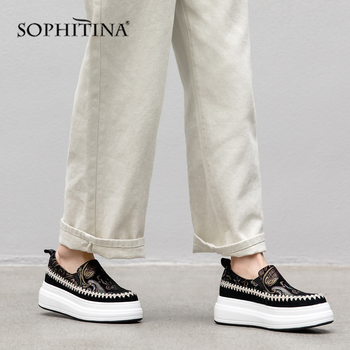 SOPHITINA Embroider Women's Flats High Quality Sheepskin Flat Platform Casual Print Shoes Round Toe Slip-on Spring Flats SO109