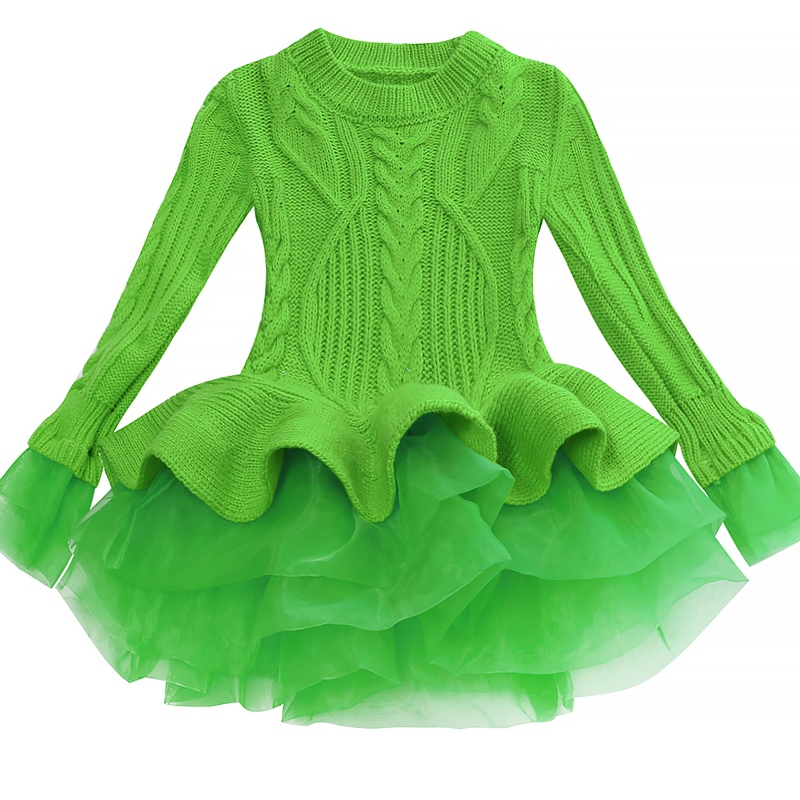 Korea Lace Knitted Sweaters Warm Dresses Winter Baby Wear Clothes Girls Clothing Sets Children Dress Child Clothing Kids Costume 1