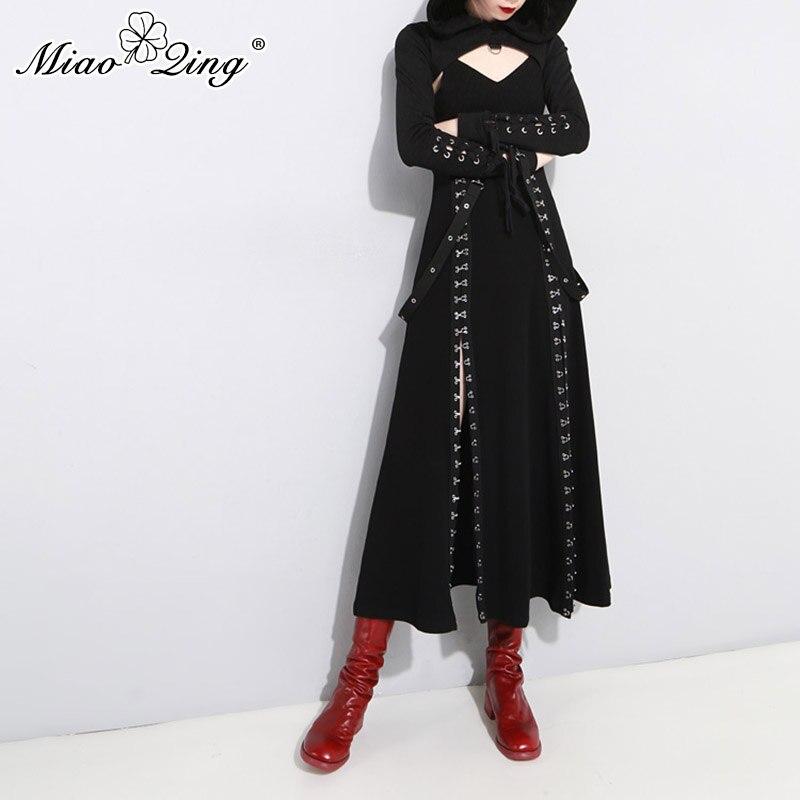 MIAOQING 2018 métal Split Punk Goth longue robe pour les femmes Patry col en V dos nu Sexy Bandage robe noir dames robes vêtements