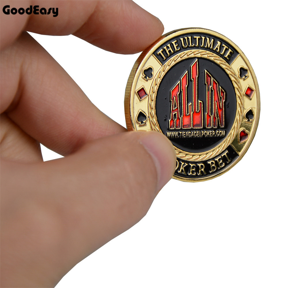 1pc Poker Card Guard Protector Metal Token Coin with Plastic Cover Metal Poker Chip set Texas Holdem Pokerstars ALL IN Button