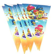 2.8m/set shimmer shine Banner And Flag Cartoon Theme Party Favors Happy Birthday Decoration Kids Favor baby shower