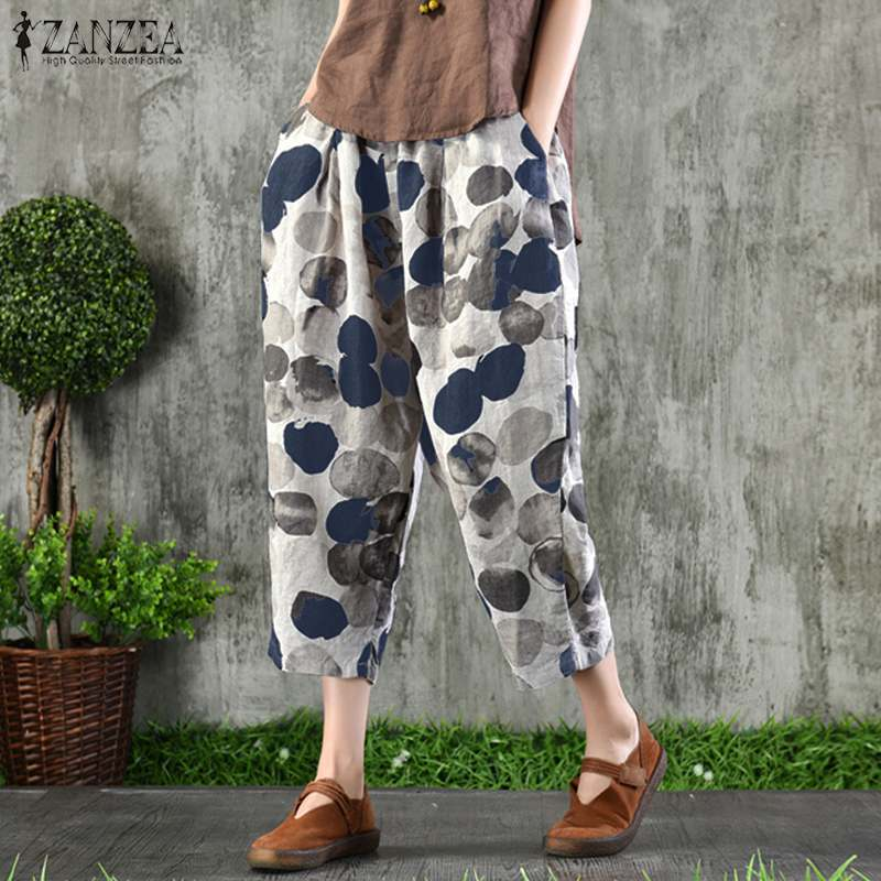 2020 ZANZEA Summer Women Pants Long Trousers Elastic Waist Wide Legs Polka Dot Harem Pants Plus Size Pantalon Femme Streetwear