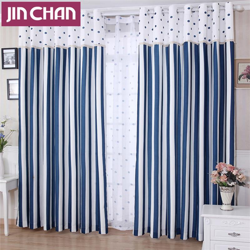 Blue Strip Finished Window Blackout Curtains For Living Room The Bedroom Shade Curtain Windows Treatments