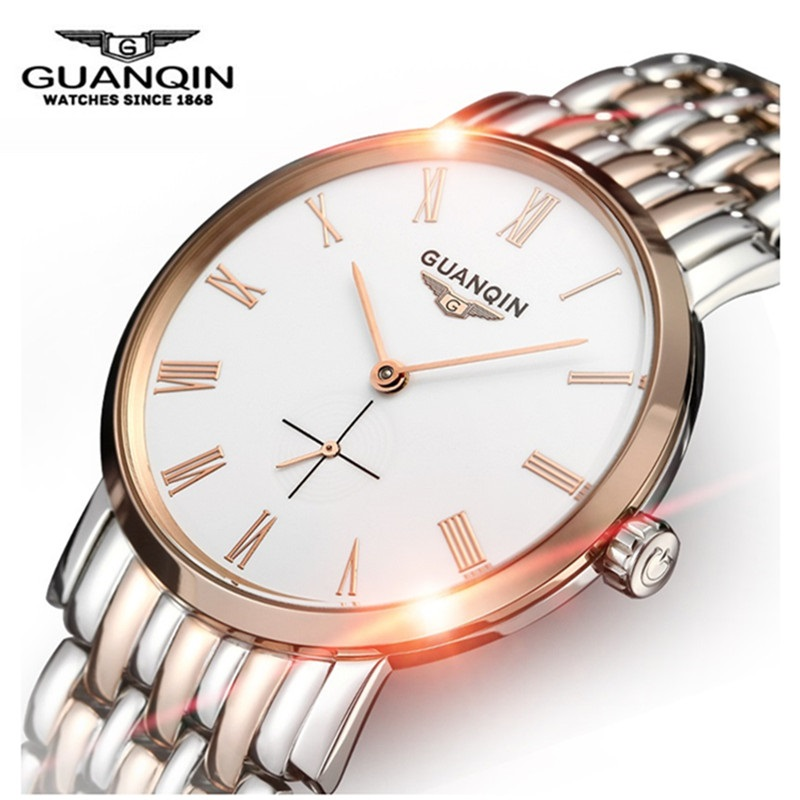 Brand Big Dial GUANQIN Watch Men Mechanical Watch Sapphire Business Gold Watch Waterproof Stainless Steel Men Clock Wristwatches fashion 40mm pranis silver dial full stainless steel sapphire glass automaic self wind mechanical men s business watch