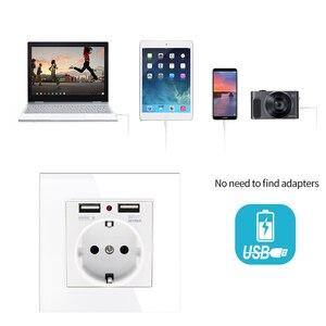 Image 3 - 86*86mm Glas Panel EU Steckdose mit 2,1 EINE 2 USB Lade Ports, 16A 2100mA Elektrische Wand Steckdose