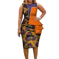 Fashion African Dresses for Women Bazin Riche African Print Cotton Midi Dress Sleeveless Bodycon Elegant Party Clothes WY3798