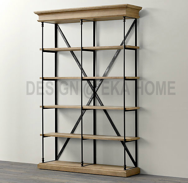 USA, France And The French Country Style Wrought Iron Wood Bookcase Shelves  Display Cabinet LOFT