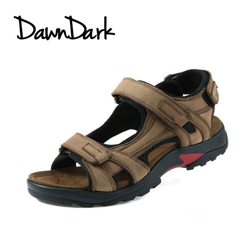 Mens Sandals Leisure Leather Summer Cool Light Weight Male Beach Casual Shoes Brown Khaki Man Split Leather Shoes