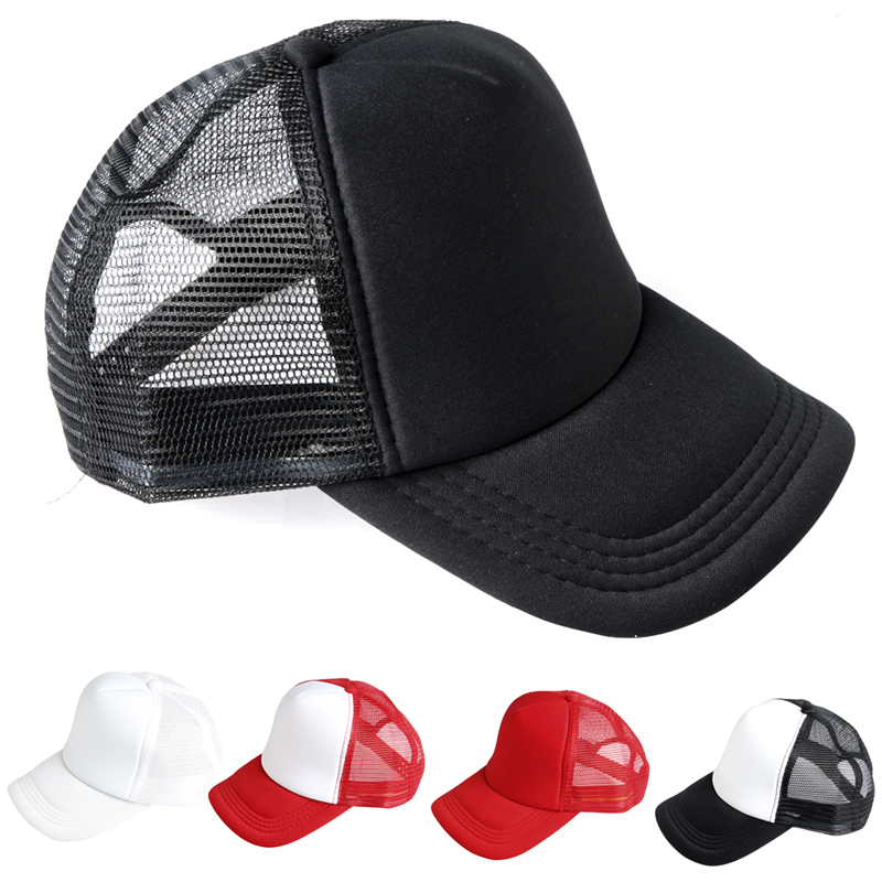 Men Plain Visor Baseball Caps Solid Trucker Mesh Blank Curved Adjustable Hat Top