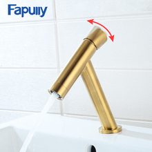 Fapully Brushed Gold Basin Faucet Black Taps Brass Simple T-Design 7 Colors Single Handle Bath Sink Mixer Water Crane 1073