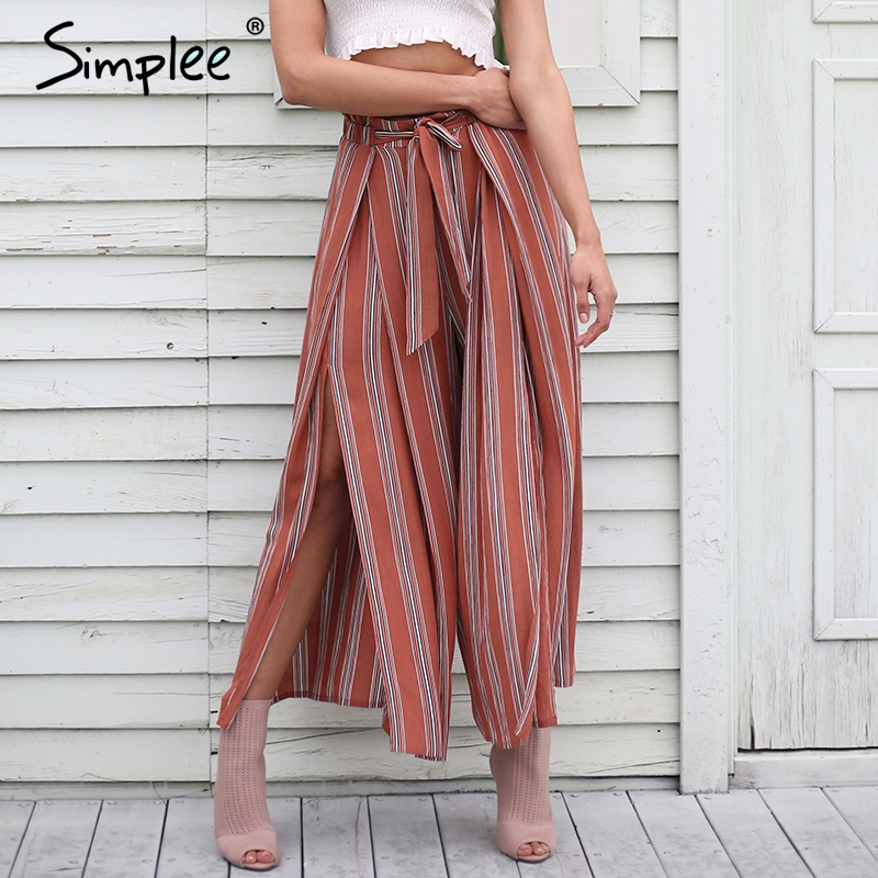 Simplee Split striped lady wide leg pants women Summer beach high waist trousers Chic streetwear sash
