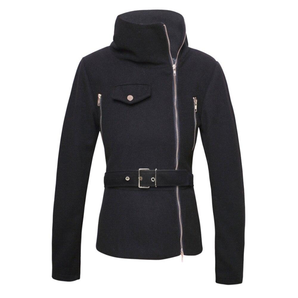 Women Black Solid Zipper Up Long Sleeve Motorcycle Jacket Coat Vrouwen Jassen Motorfiets Biker Stand Kraag Jasje Sale