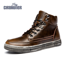 CIROHUNER New Fashion Men's Winter Boots Made of Genuine Leather Military Martin boots for Men Brown Colors Plus S