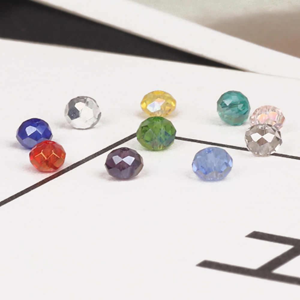 2mm 3mm 4mm 6mm 8mm Rondelle אוסטריה פיאות קריסטל זכוכית חרוזים העגול Loose Spacer חרוזים עבור תכשיטי ביצוע