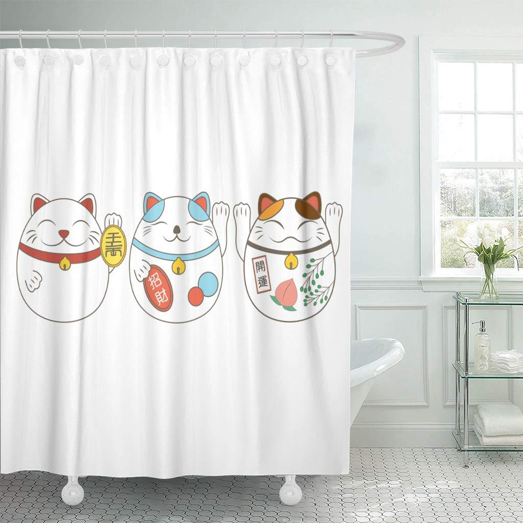 Us 18 73 25 Off Fabric Shower Curtain With Hooks Red Asian Japanese Lucky Fortune Cat With Word Of Luck Design Kitten Animal Cartoon In Shower