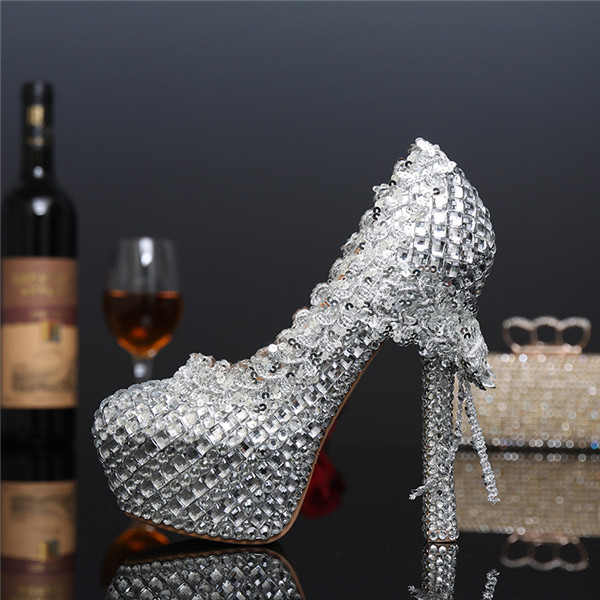 Crystal Luxury Bride wedding shoes silver womens Pumps thin heel party shoes High heels platform shoes women 15cm ultra high heels sandals ruslana korshunova platform crystal shoes the bride wedding shoes