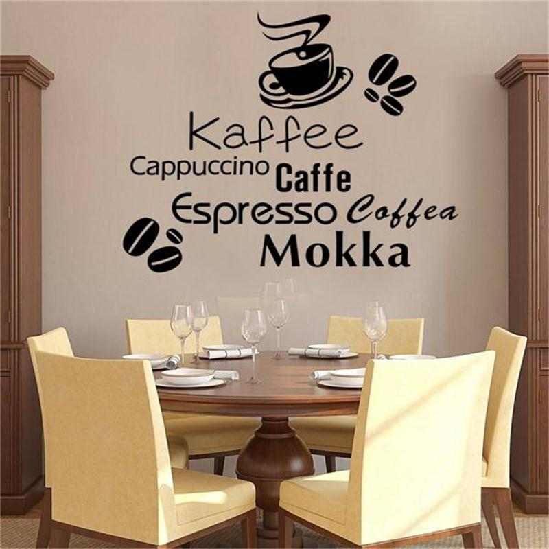 Fashion Kaffee Cappuccino Caffe Letters Decal Wall Sticker Decoration /DIY  Home Coffee Shop Kitchen Decor Mural Art ZY8394 In Wall Stickers From Home  ...