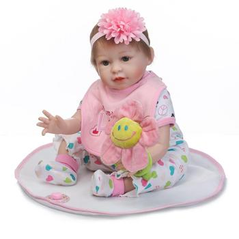 Nicery 20-22inch 50-55cm Bebe Reborn Doll Soft Silicone Boy Girl Toy Reborn Baby Doll Gift for Children Pink Flowers Baby Doll
