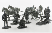 figure 1:24 Alloy Model Puppet World War I French Soldier Artillery Carriage Scene Model