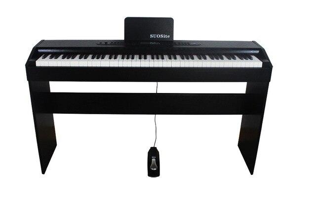 BAIYUAN 88 keys digital electronic piano wood grain single - pedal vertical heavy hammer teaching piano