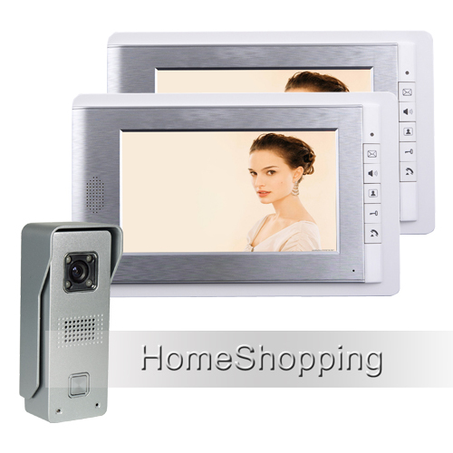 FREE SHIPPING Brand Wired 7 Color Video Intercom Door Phone System Two White Monitor + 1 Waterproof HD Doorbell Camera In Stock free shipping wired 7 inch color video intercom home door phone system 3 white monitor 1 hd rfid access doorbell camera in stock