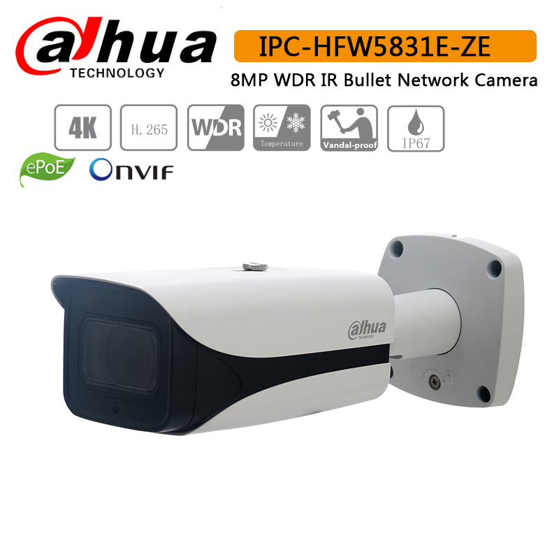 Dahua IPC-HFW5831E-ZE IP Camera 2.7mm~12mm Varifocal Motorized Lens IR50M Built-in Audio Alarm Interface 8MP WDR Bullet Camera