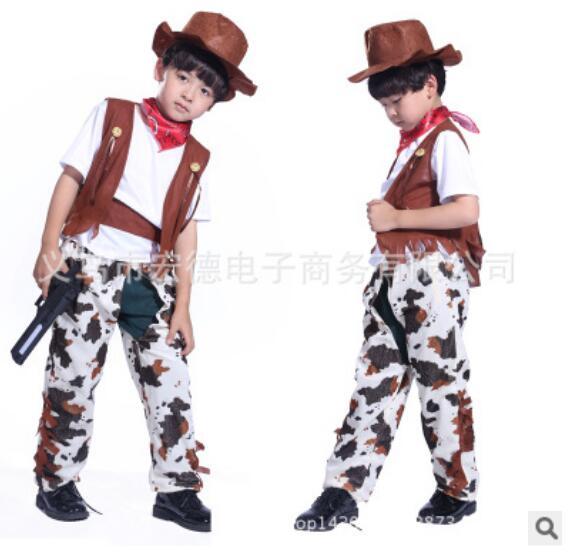 110-140cm Halloween Cosplay fashion Clothing 4 pcs set kid boy girl cowboy Costume hero costume for boy birthday gift party