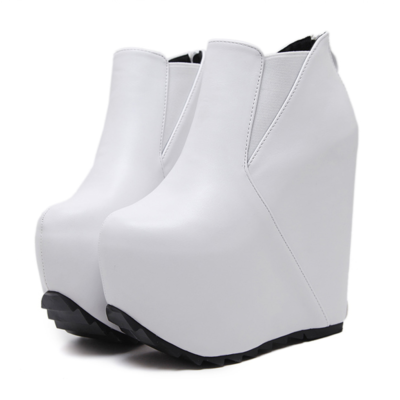 16cm Hight Platform Boots Autumn Women Ankle Boots Black/White Height Increasing High Heels Punk Style Wedges Platform Boots