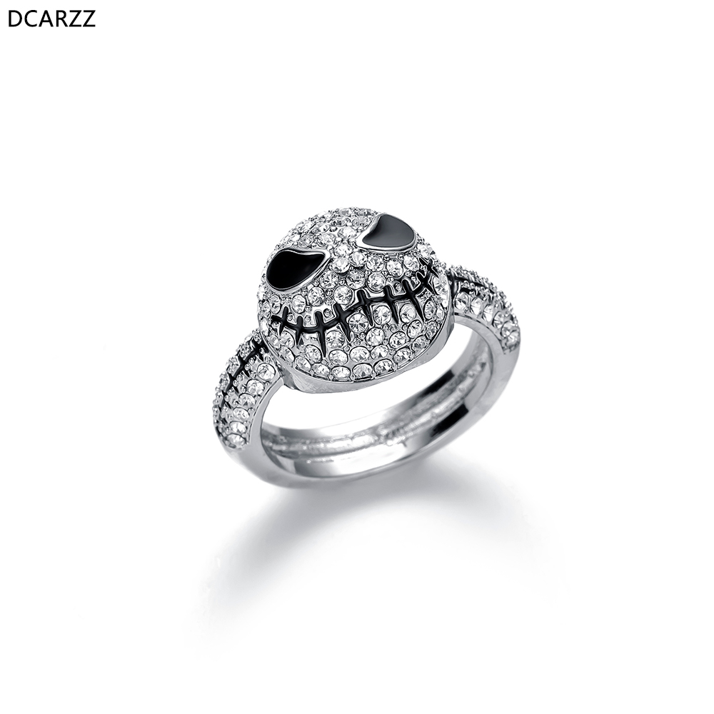Crystals Skull Silver Ring Men Black Enamel Rings Nightmare Before Christmas Jack Gothic Jewelry Love Gift