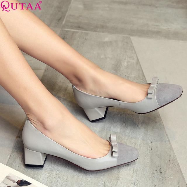 QUTAA Mulheres Bombas Elegantes Cores Misturadas Senhoras Quadrados Sapatos de Salto Alto de Couro Genuíno Dedo Apontado Sapatos de Casamento Mulher Tamanho 34-40