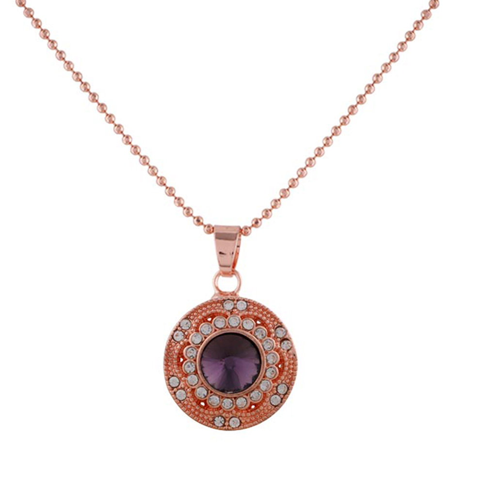 2018 Top Quality Chain type Circular Rose Gold Color Pendant Necklace Jewelry Necklaces for Women mothers gifts KC1041KC6489