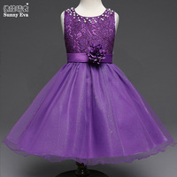 Yingwaaiyi Girls Christmas Wedding Dresses Baby Clothes 2017 Children Summer Flower 3colours Princess Dresses For Little
