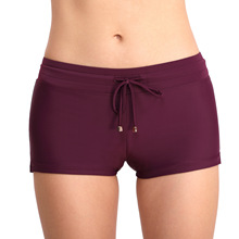 Womens solid color swimming trunks large size anti-lighting simple boxer beach swim