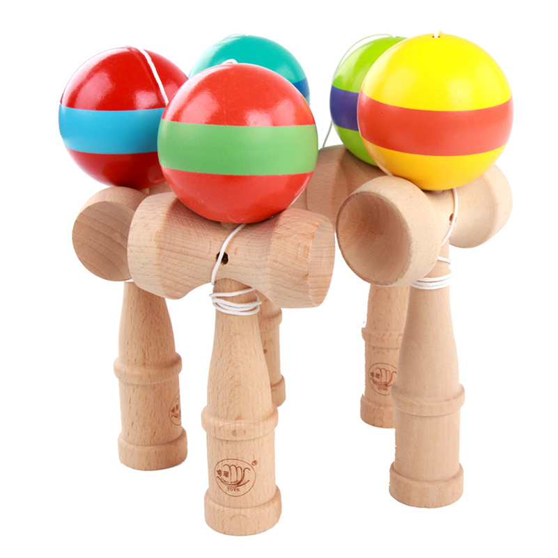 Profesionalna lesena Kendama spretna Jumbo Stripe Kendama stresna žoga na prostem žongliranje Igra tradicionalne žogice igrače za darila