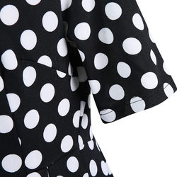 ROPALIA Elegant Vintage Womens Polka Dot Belted Tunic Pinup Wear To Work Office Casual Party A Line Dress 4