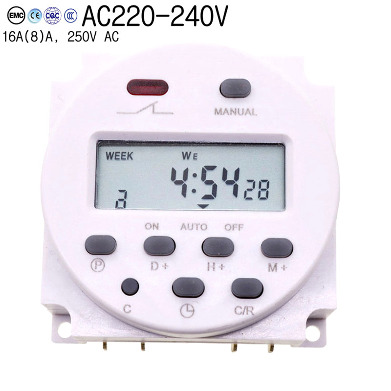 15.98 Inch Big Lcd 220v Ac 7 Days Weekly Programmable Timer Switch Time Relay Built-in Rechargeable Battery For Lights Control morrison grant sm ac v3 at end days