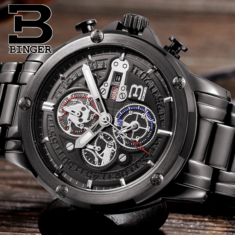 Chronograph Sports Luxury Top Brand Wrist watches BINGER Luminous Watches Men Quartz Military Watch Full Steel Calendar and week baseus glass case mirror like gradual changing color pc protective mobile shell for iphone 6s 6 4 7 inch violet blue