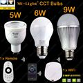 GU10 5W E27 6W 9W Mi.light Color Temperature Adjustable Dual White CW/WW CCT LED Bulb AC85-265V+2.4G Wireless Remote+ WiFi iBox1