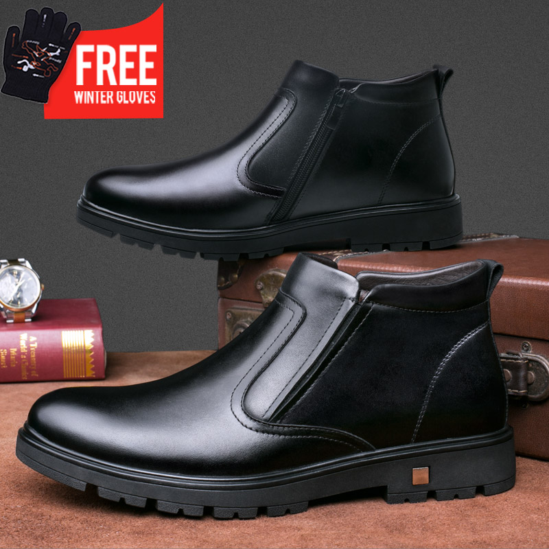OSCO Fashion winter Men Ankle Boots Casual Men Leather chelsea boots martin Breathable slip on Boots military shoes men цены
